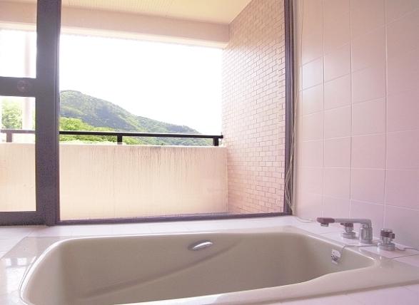 お部屋のバスルームは、ビューバスになっています。温泉ではございませんが、広くて良いです。