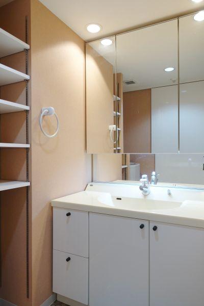 洗面台の鏡は大きくて便利な三面鏡を採用。左手のちょっとした収納が利便性を上げます。
