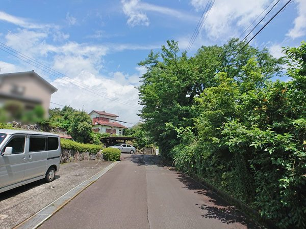 前面道路です、自然が残る周辺環境です。