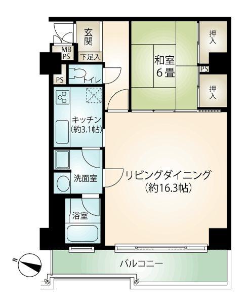 3階南側の角部屋61.36㎡。