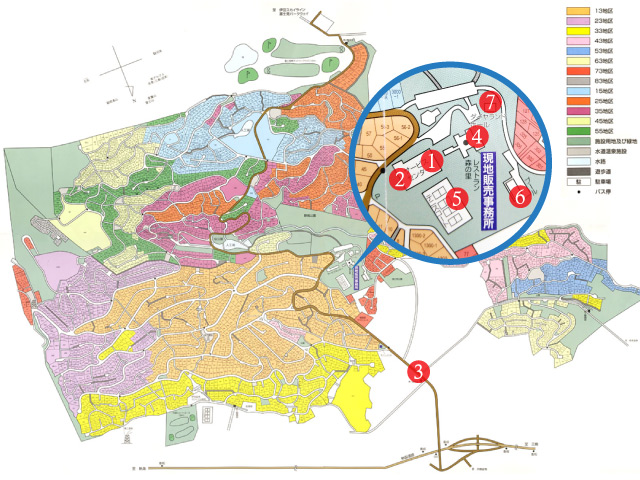 【区画図】管理事務所・コンビニから近く住環境が整っております。皆様のご見学お待ちしております。