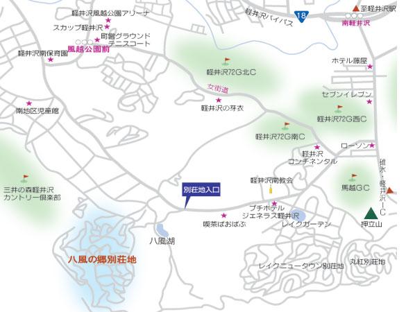 別荘地までの地図です。