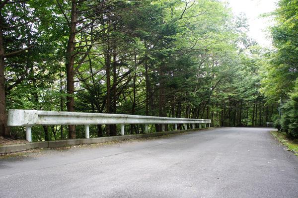 2方向の道路に面しています。こちらからは道路から降りるアプローチ。