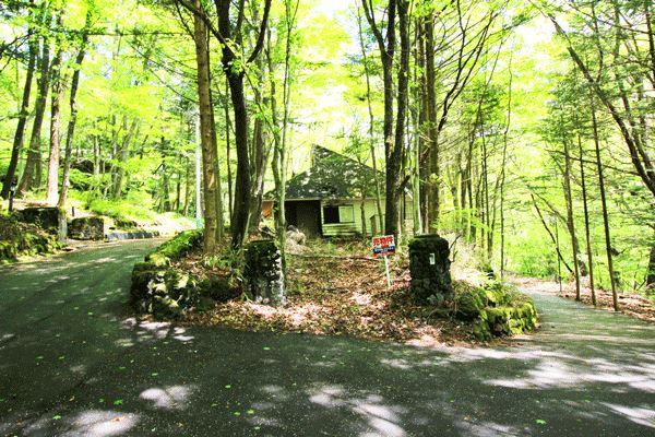 敷地周辺は木々に囲まれ軽井沢らしい環境。